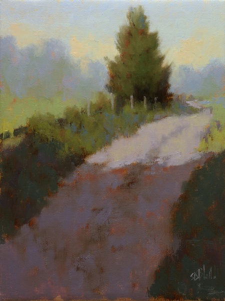 A colorful impressionistic painting of a farm track