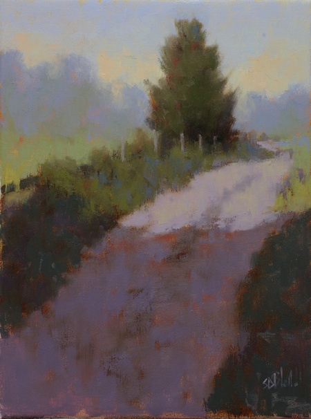 A colorful impressionistic painting of a farm track with modifications