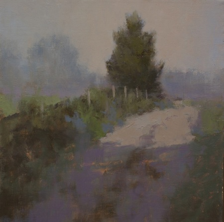 A completed painting of a farm track with grayed-out palette and multiple layers, cropped.
