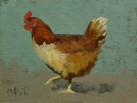 A painting of a chicken set against a blue and gray background with a folk art feel