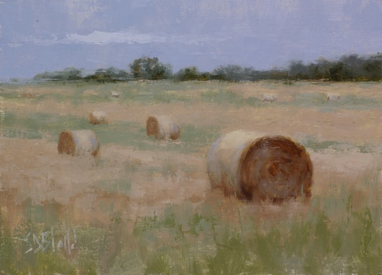 A painting of hay bales in a field at Furnace Mountain in VA