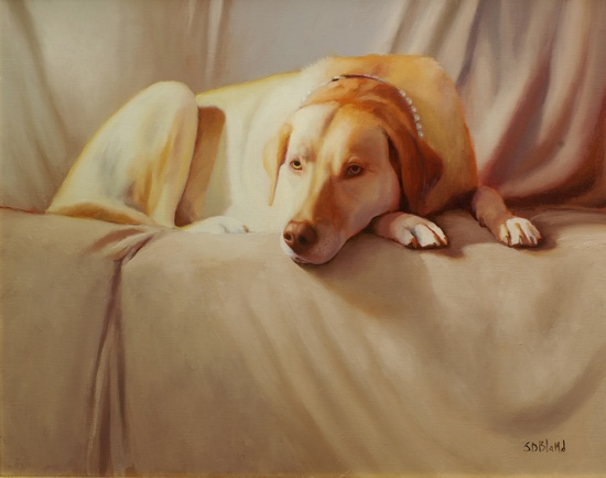 A painting of a yellow lab on a sofa