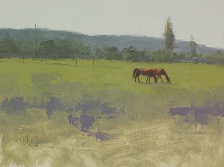 Plein air painting of horses at Lenhart Farm