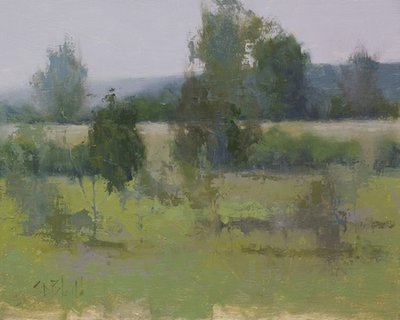 Painting of the pond at Meadow Grove Farm in Bluemont VA