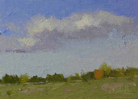 Plein air painting of the north fields at Ayrshire Farm in Upperville VA
