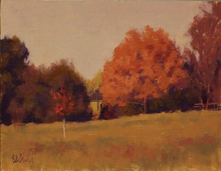 A painting of trees in the fall at Oakland Green Farm