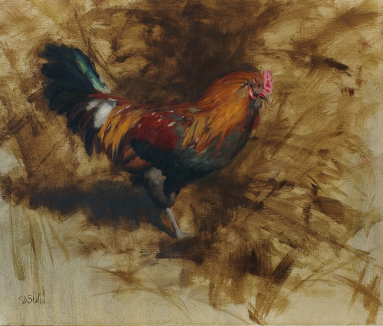 A painting of a rooster with an abstract monochrome backgroud