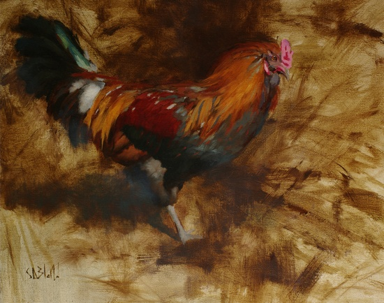 A painting of a rooster with an abstract monochrome background - this version is cropped