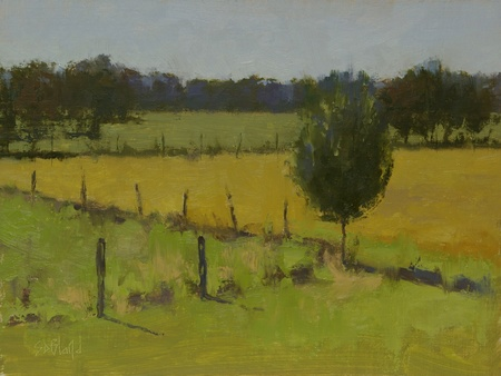 Plein air painting of the south fields at Ayrshire Farm in Upperville VA