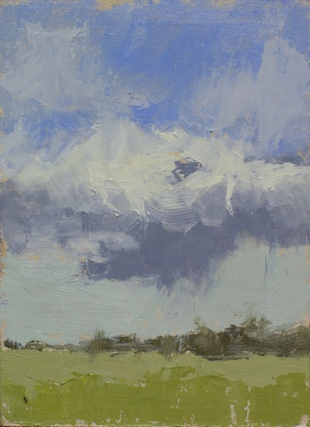 Plein air painting of the spring skies