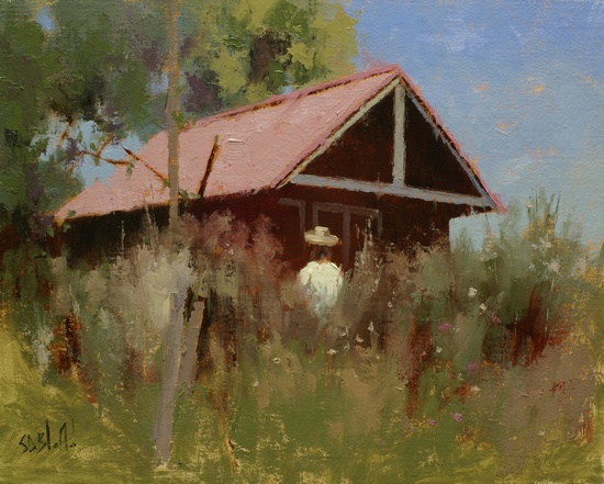 A painting of a farm shed at Woodgrove Meadows