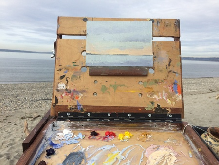 Plein air setup at a beach in Ballard, Seattle WA