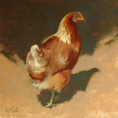 Chicken. 12x12, oil on linen panel. 2016.