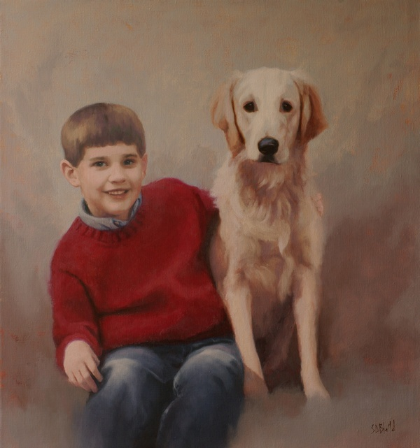 A portrait of David and Max - oil on linen by artist Simon Bland