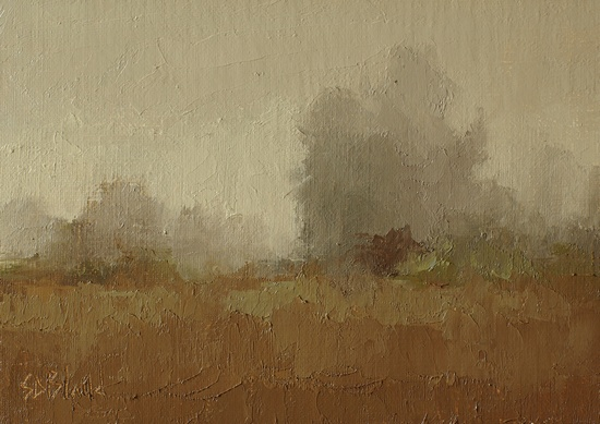 Foggy Morning. 5x7, oil on linen panel. 2016.