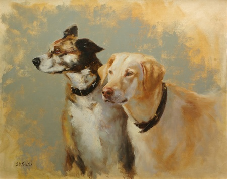 A painting of dogs Hannah and Nikko