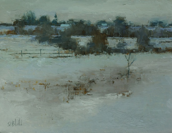 Winter Fields and Hedgerows. 9x12, oil on linen panel. 2016