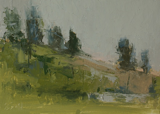 Plein air sketch of a hillside at Discovery Park