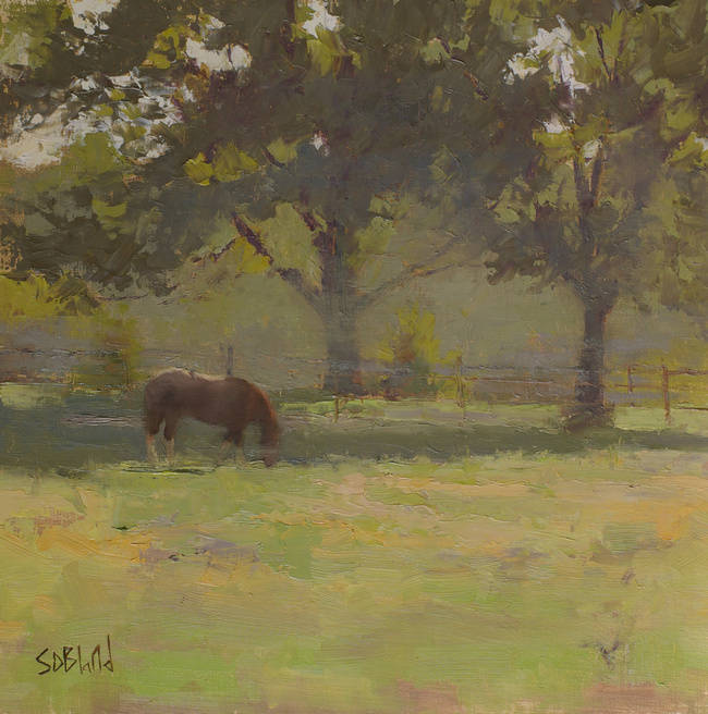 A painting of a horse in a pasture at Ayrshire Farm in Upperville VA