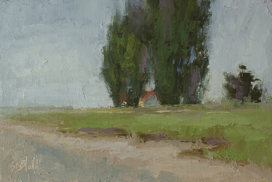 Lighthouse Keeper's Cottage at Discovery Park - a plein air painting by Simon Bland