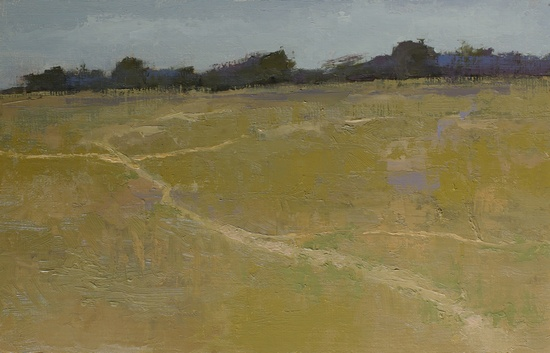 Meadow Land. 6x11 approx., oil on linen panel. 2016