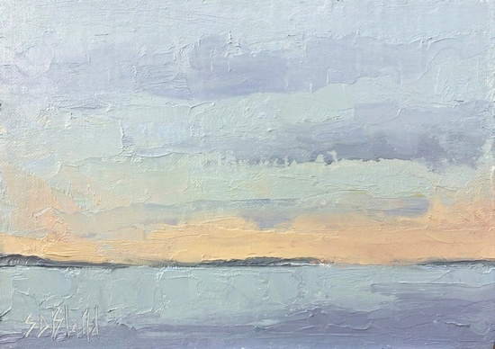 Plein air painting of Puget Sound looking north