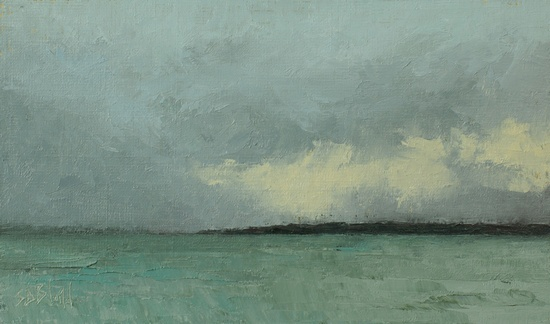 Rain Over Winslow. 6x10, oil on linen panel. 2016.