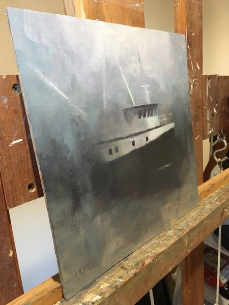 A painting of the fishing boat Vampy (WIP)