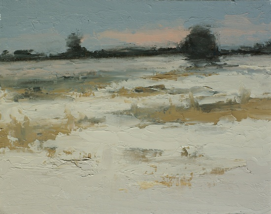 Winter Fields. 9x12, oil on linen panel. 2016.