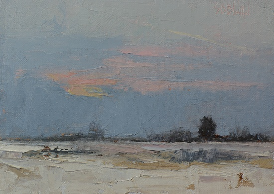 Winter Dawn. 5x7, oil and cold wax on linen panel. 2016