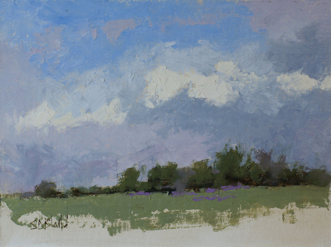 An oil painting of a lavender farm by artist Simon Bland