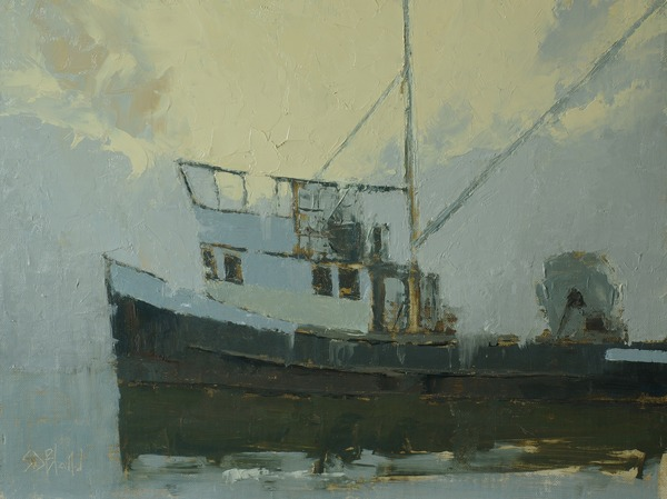 Painting of the fishing boat Darla R by artist Simon Bland