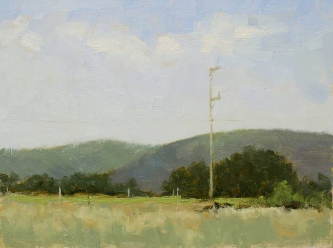 A green landscape painting with a bright band of color in the middle ground