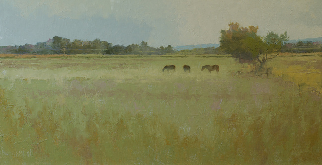 Oil painting of a landscape with three horses.