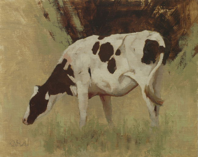 An oil painting of a Holstein cow done in an analogous color scheme