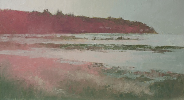 An oil painting of the Magnolia Bluffs done with a pink/green palette