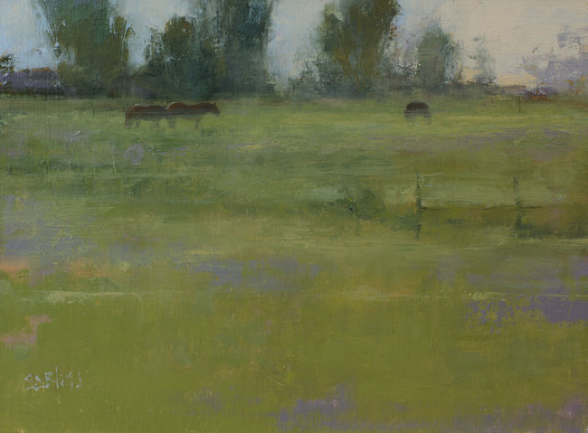An oil painting of horses in a field by artist Simon Bland