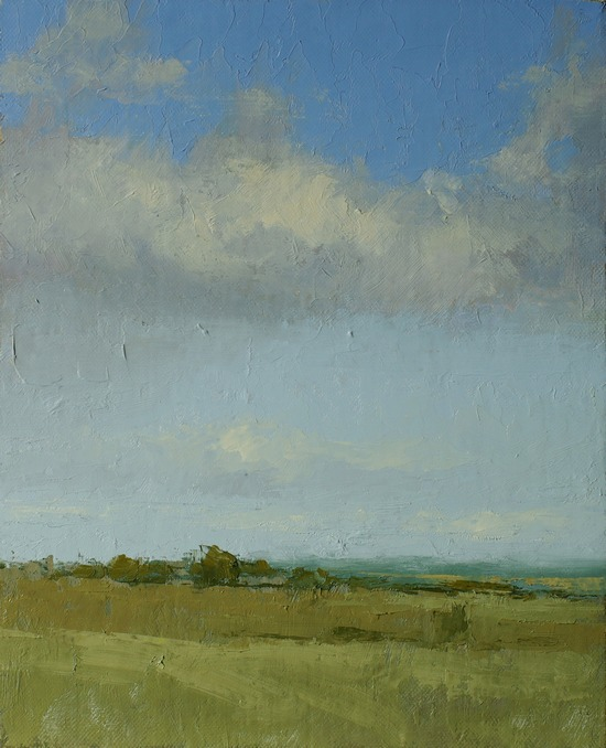 A painting of clouds in the northern sky with field and trees