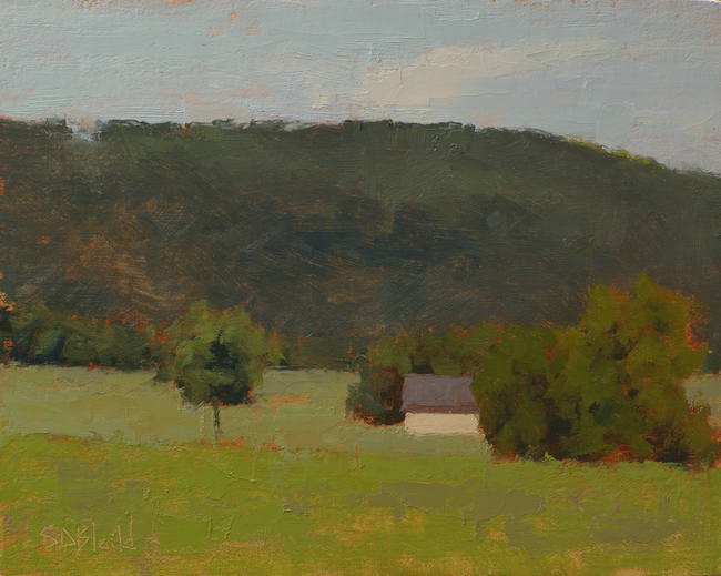 A green landscape painting with broken up areas of color
