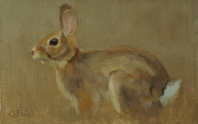 An oil painting of a rabbit set against a brown background