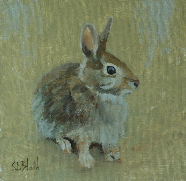 A oil painting sketch of a young rabbit with greenish umber background