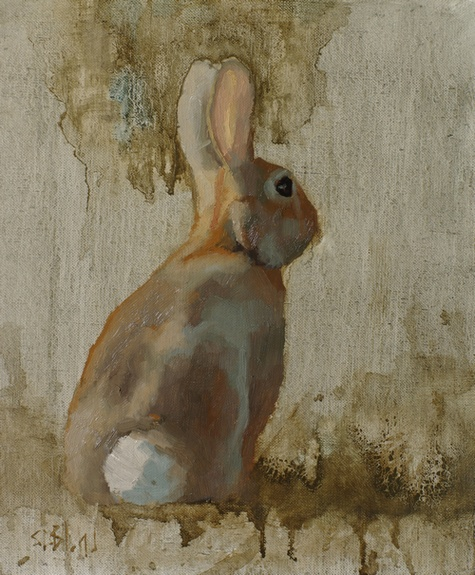 An oil painting of a rabbit set against a simple abstract background