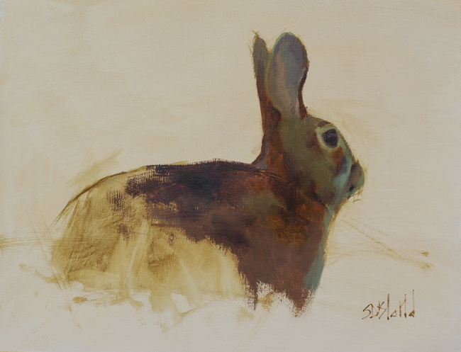 An oil painting of a rabbit with unfinished background