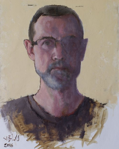 Self portrait in oil with yellow background by artist Simon Bland