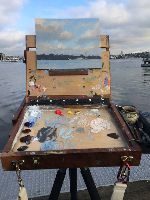 Plein air painting at Lake Union