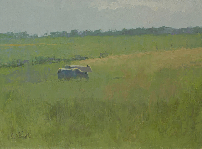 A landscape painting with cows by artist Simon Bland