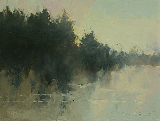 Abstract impressionistic landscape with pine trees, water, yellow sky and fog effects.