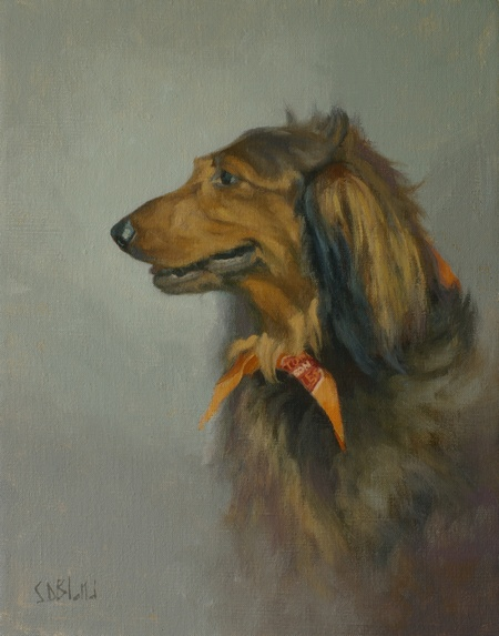 An oil painting of a long haired dachshund set against a neutral gray background