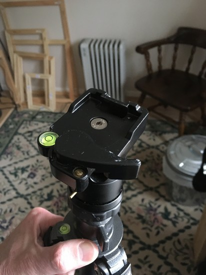 A ball head on top of a carbon fiber tripod