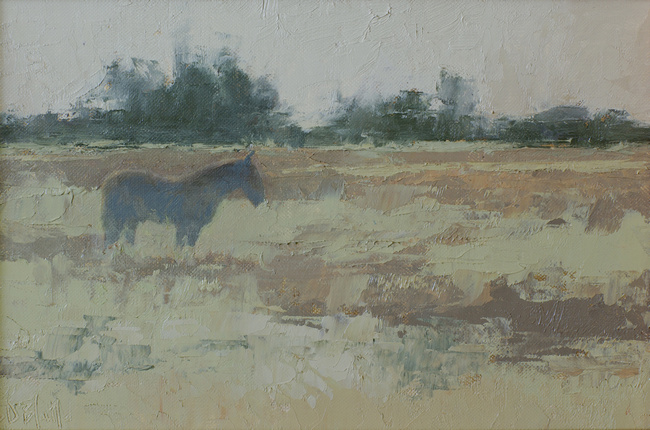 A small oil painting of a horse in a pasture. The sketch features strong paint textures, scumbled effects and a cool palette.